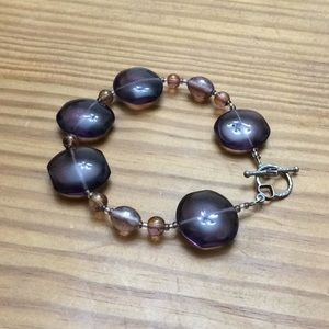 Jewelry - Purple glass bead bracelet heart clasp